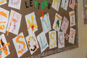 The children used the first letter of their name to create a monster letter for the book fair bulletin board display! Great job everyone!
