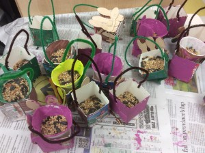 We made bird feeders for the wetland area at QMS.